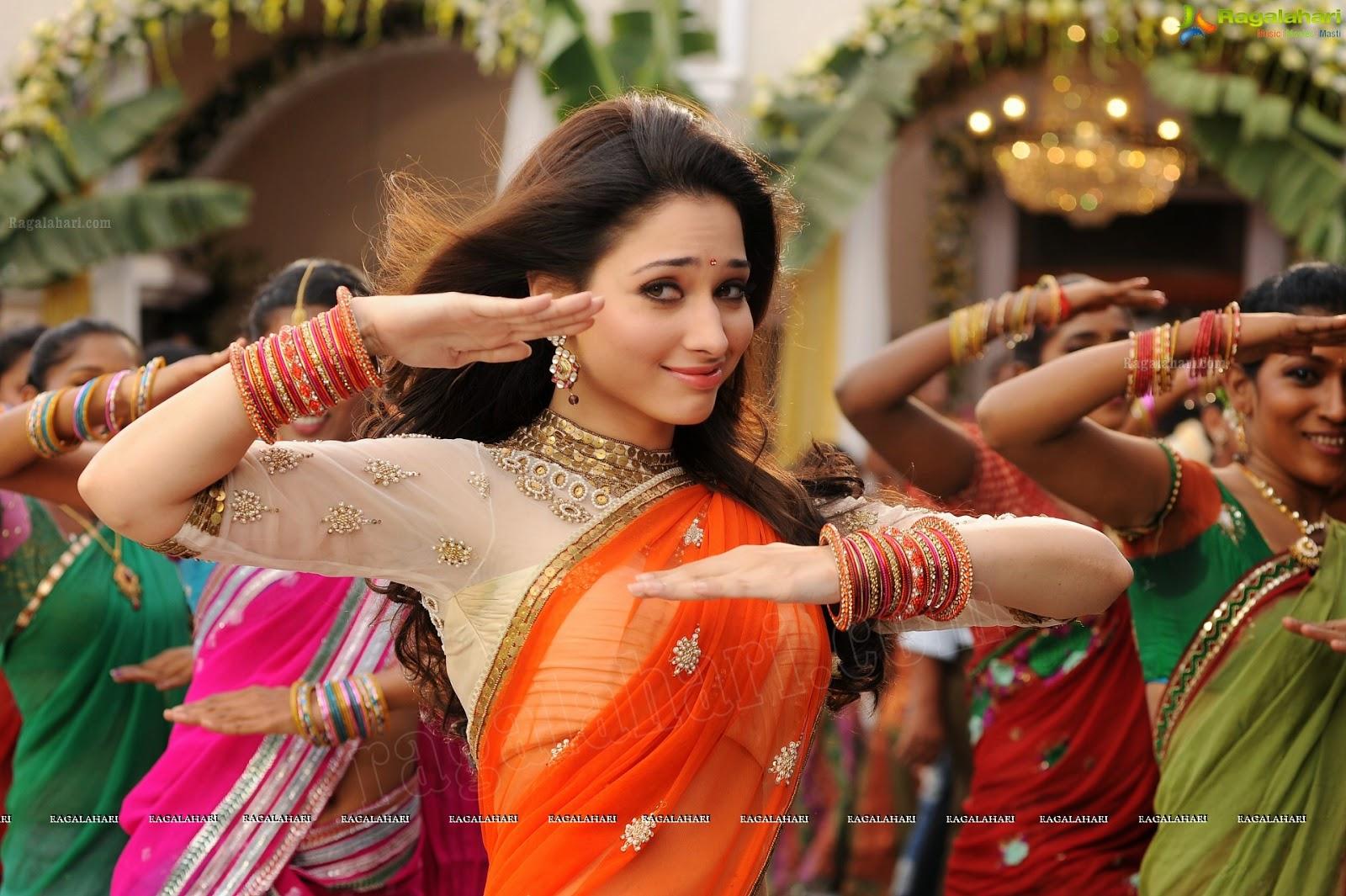 Tamanna Bhatia In Saree: Indian Garam Masala: Tamanna Bhatia Orange Half Saree Hot