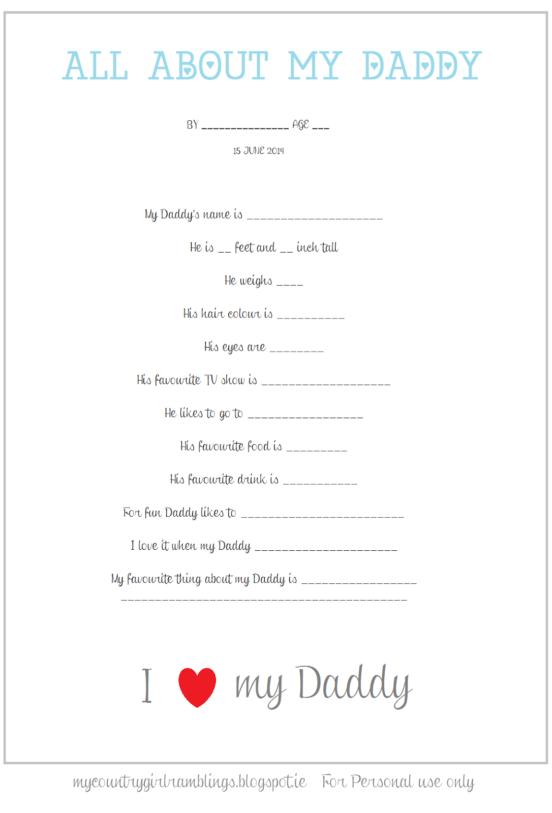 My Country Girl Ramblings Free Printable Father S Day Questionnaire
