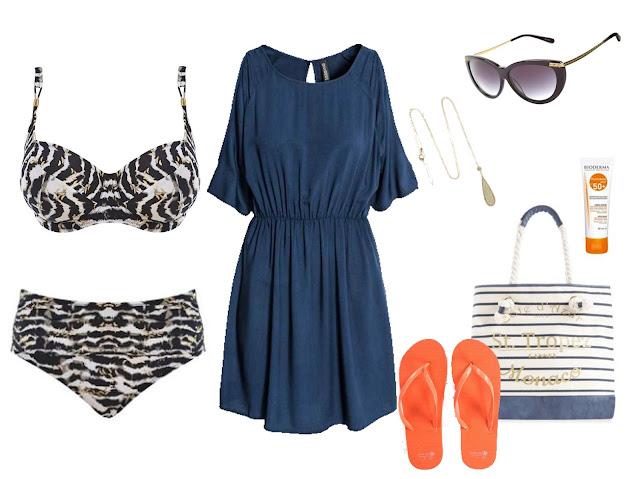 Consultoria de imagem - Looks de praia para cada tipo de corpo # 4 | Oval - Vestido azul escuro, chinelos rasos laranja, mala azul e branca de tecido e corda, óculos de sol, colar comprido e bikini preto e branco com cintura subida