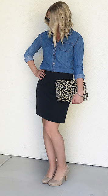 Thrifty Wife, Happy Life- Chambray shirt with black pencil skirt, nude pumps and a pop of leopard