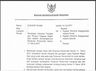 Penetapan Kenaikan Pangkat dan Pensiun Pegawai Negeri Sipil Setelah di Undangkan Peraturan Pemerintah Nomor 11 Tahun 2017 Libraray Pendidikan