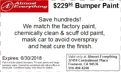 Discount Coupon $229.95 Bumper Paint Sale June 2018