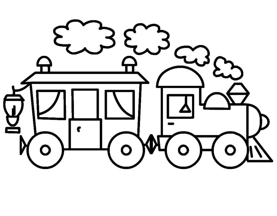 Mewarnai Gambar Kereta Api Sederhana Untuk Anak