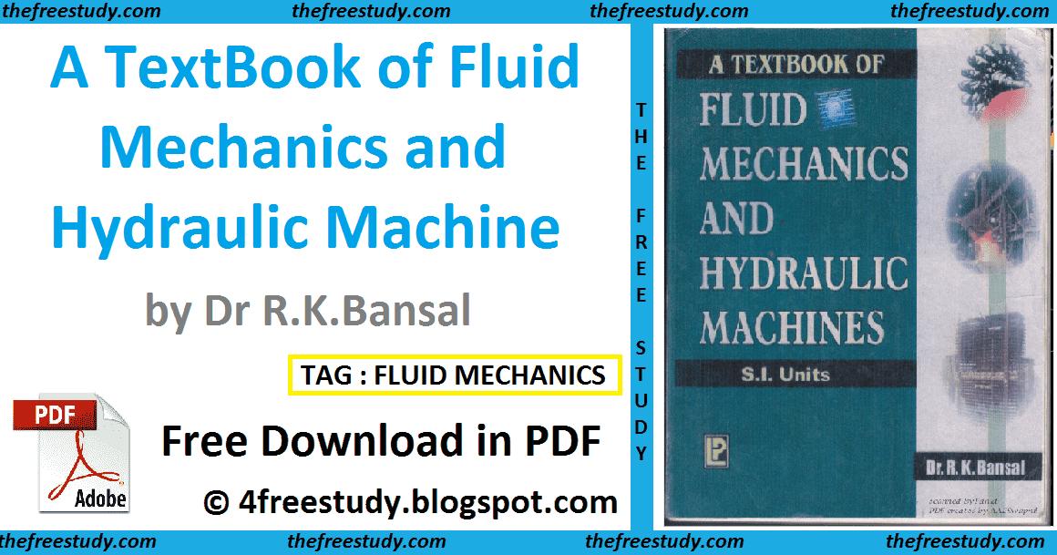 A Textbook Of Fluid Mechanics And Hydraulic Machine By Dr R K Bansal