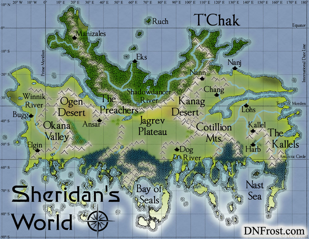T'Chak of Sheridan's World, a map commission by D.N.Frost for Stephen Everett http://www.dnfrost.com/2016/08/tchak-of-sheridans-world-map-commission.html Part 1 of a series.