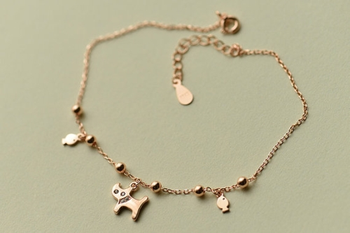 Rose Gold Kitty Pendant Anklet-Cat Sterling Silver Anklets