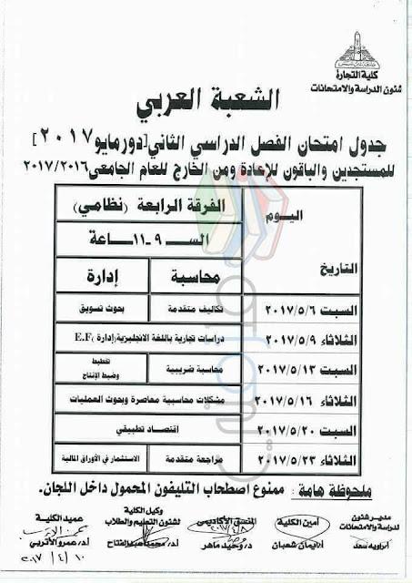 جدول امتحانات تجارة عين شمس 2017 الفرقة الرابعة انتظام