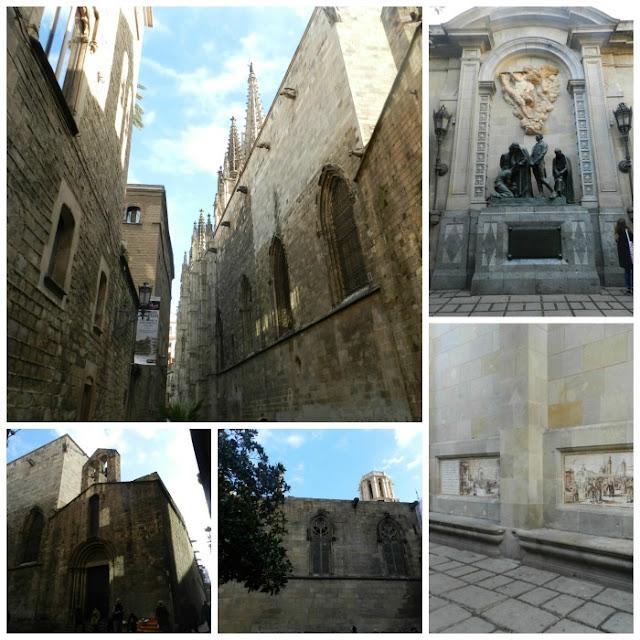 Free Walking Tour em Barcelona - lateral da Catedral de Barcelon e Plaça de Garriga i Bachs