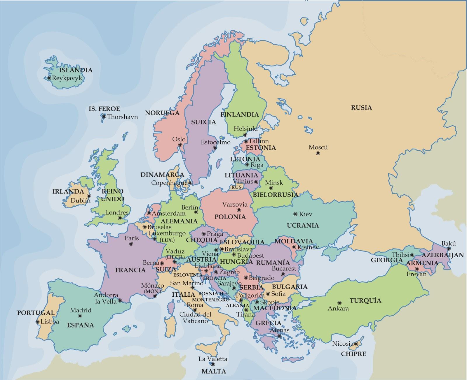 mapa politico europa Mapa de Europa, más de 250 imágenes de calidad para imprimir  mapa politico europa