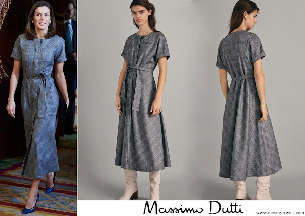 Queen Letizia wore Massimo Dutti wool check dress with belt