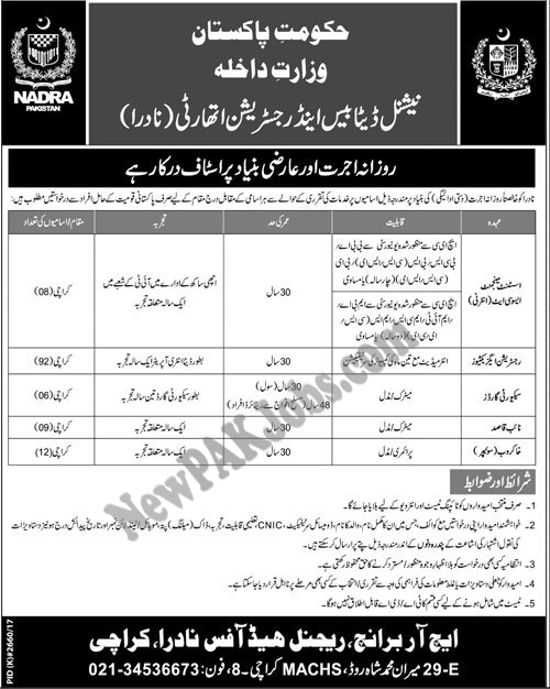 NADRA  National Database and Registration Authority Latest Jobs