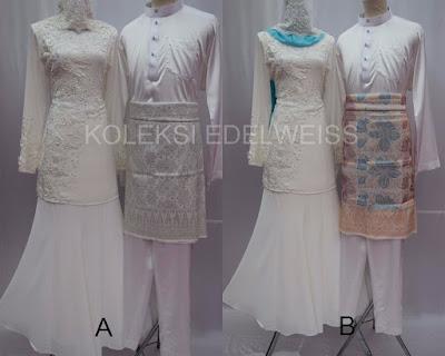 sET Baju Kurung Moden NIkah Laca dan Manik  Warna Putih