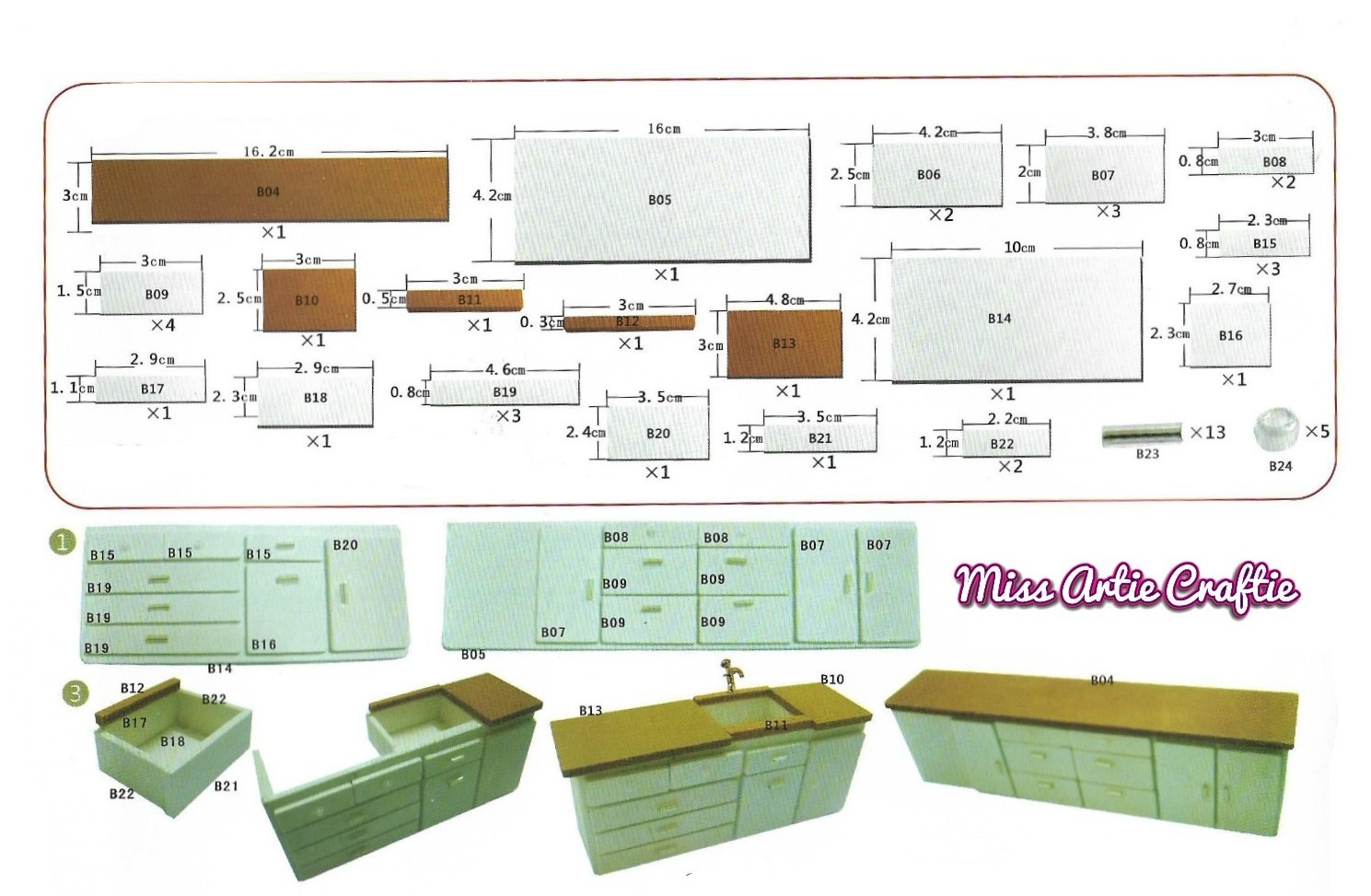 Miss Artie Craftie Miniature Dollhouse Kitchen Cabinets Template