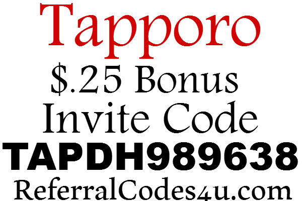 Tapporo Invite Code 2016-2017, Tapporo App $.25 Sign Up Bonus, Tapporo Invitation Code
