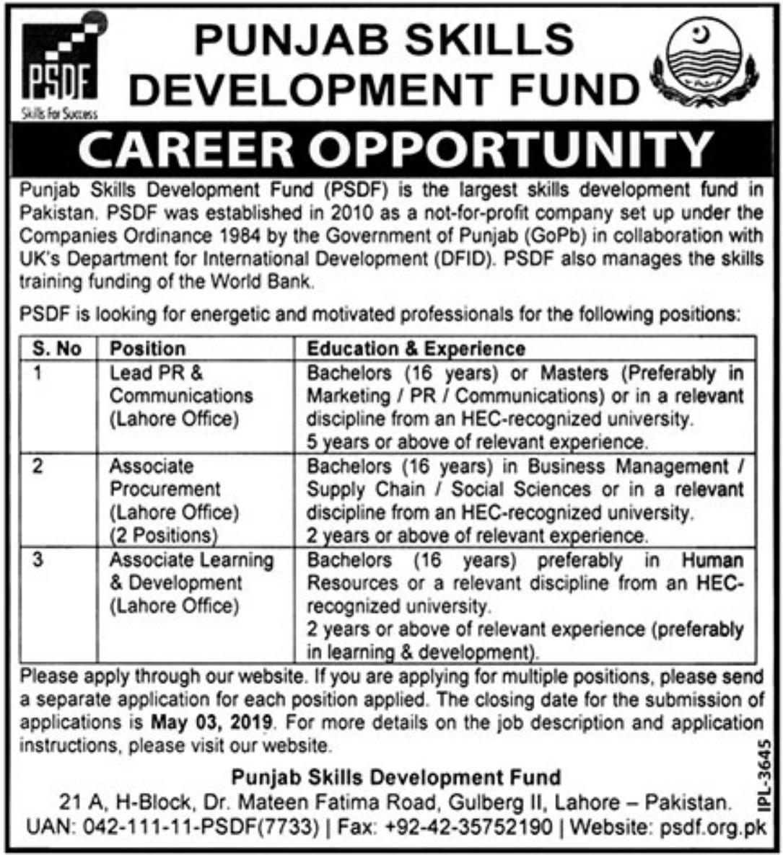 Punjab Skills Development Fund PSDF Jobs 2019