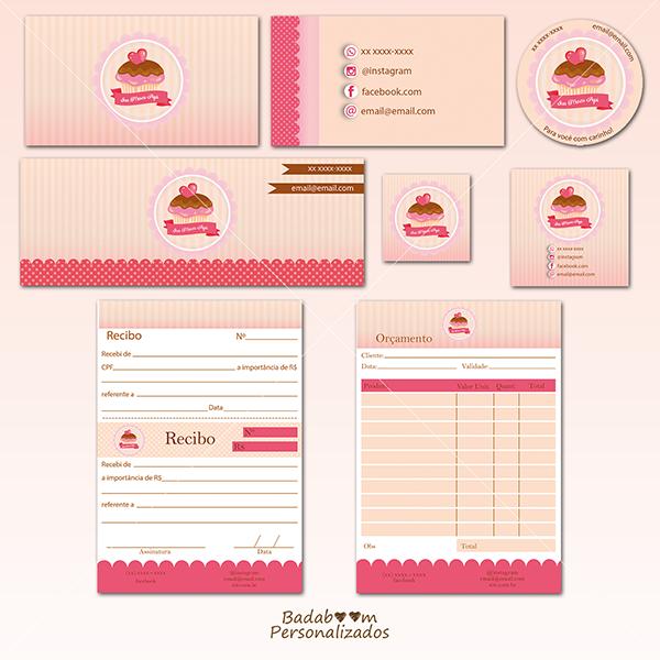 Identidade visual, personalizada, exclusiva, logomarca, cupcake, confeitaria, capa de facebook, perfil redes sociais, tag, rótulo, orçamento, recibo, etiqueta