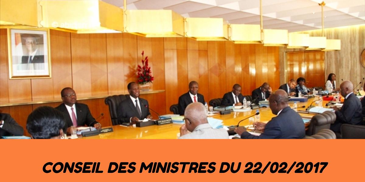 Les différents projets de décrets adoptés en Conseil des Ministres du mercredi 22 février