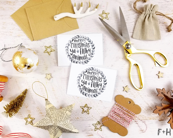 Free Watercolor Christmas Cards + Print