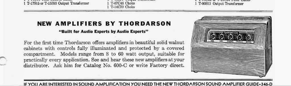 Thordarson Catalog 400C Advertisement for Amplifier with Walnut Cabinet