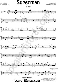 Trompeta y Fliscorno Partitura de Superman Sheet Music for Trumpet and Flugelhorn Music Scores