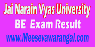 Jai Narain Vyas University BE Civil VII Sem 2016 Exam Result