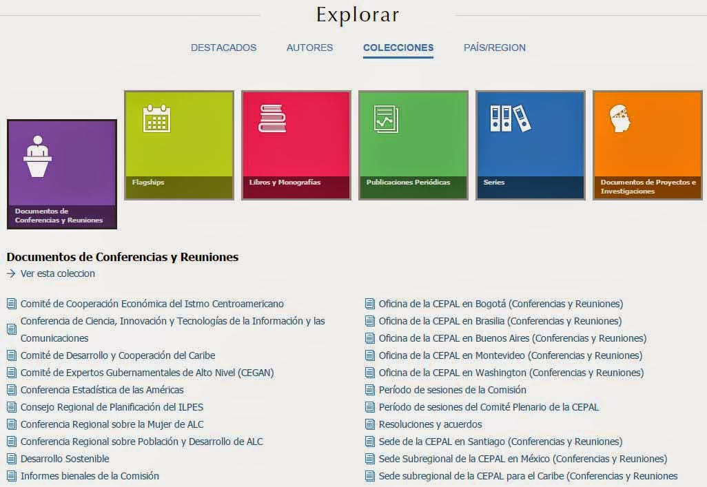 collecciones repositorio CEPAL