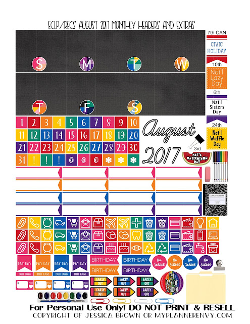 Free Printable August 2017 Monthly Headers & Extras for the Vertical Erin Condren and Recollections Creative Year Planners from myplannerenvy.com