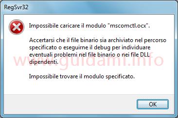 Windows finestra errore Impossibile caricare il modulo mscomctl.ocx