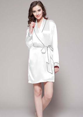 5afb93398d Women silk robe with contrast trim - SILK NIGHTWEAR VIETNAM