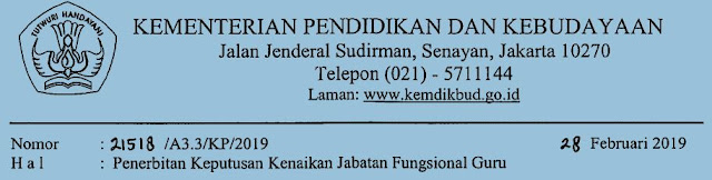 Peneribitan Keputusan Kenaikan Jabatan Fungsional Guru Tahun 2019, http://www.librarypendidikan.com/