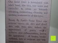 Info: Feuchtigkeitsspendender Gesichtstoner - Biologische und natürliche Inhaltsstoffe mit Hamamelis und Rosenwasser - 251 ml (Beauty By Earth)
