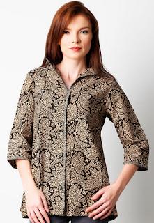 Kemeja batik wanita lengan panjang modis elegan