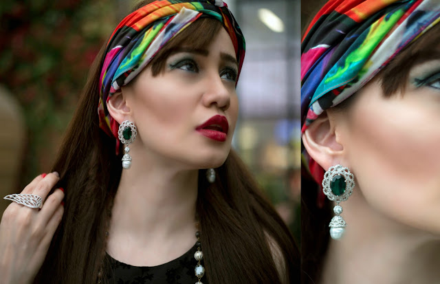 Shazé Accessories, Jewelry, Head Scarf, pearl drop earrings,eagle wing ring,