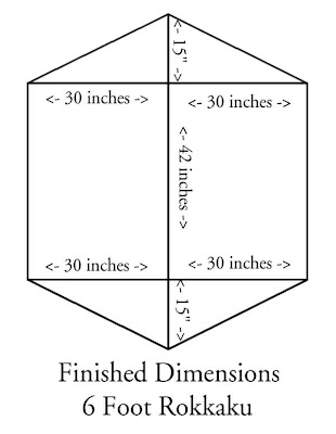 Rokkaku kite dimensions, plan, inches