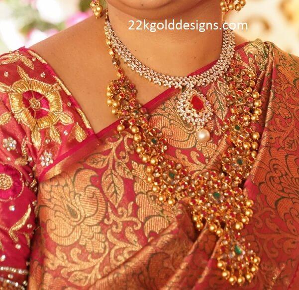 Ruby Kundan Mala and Diamond Necklace