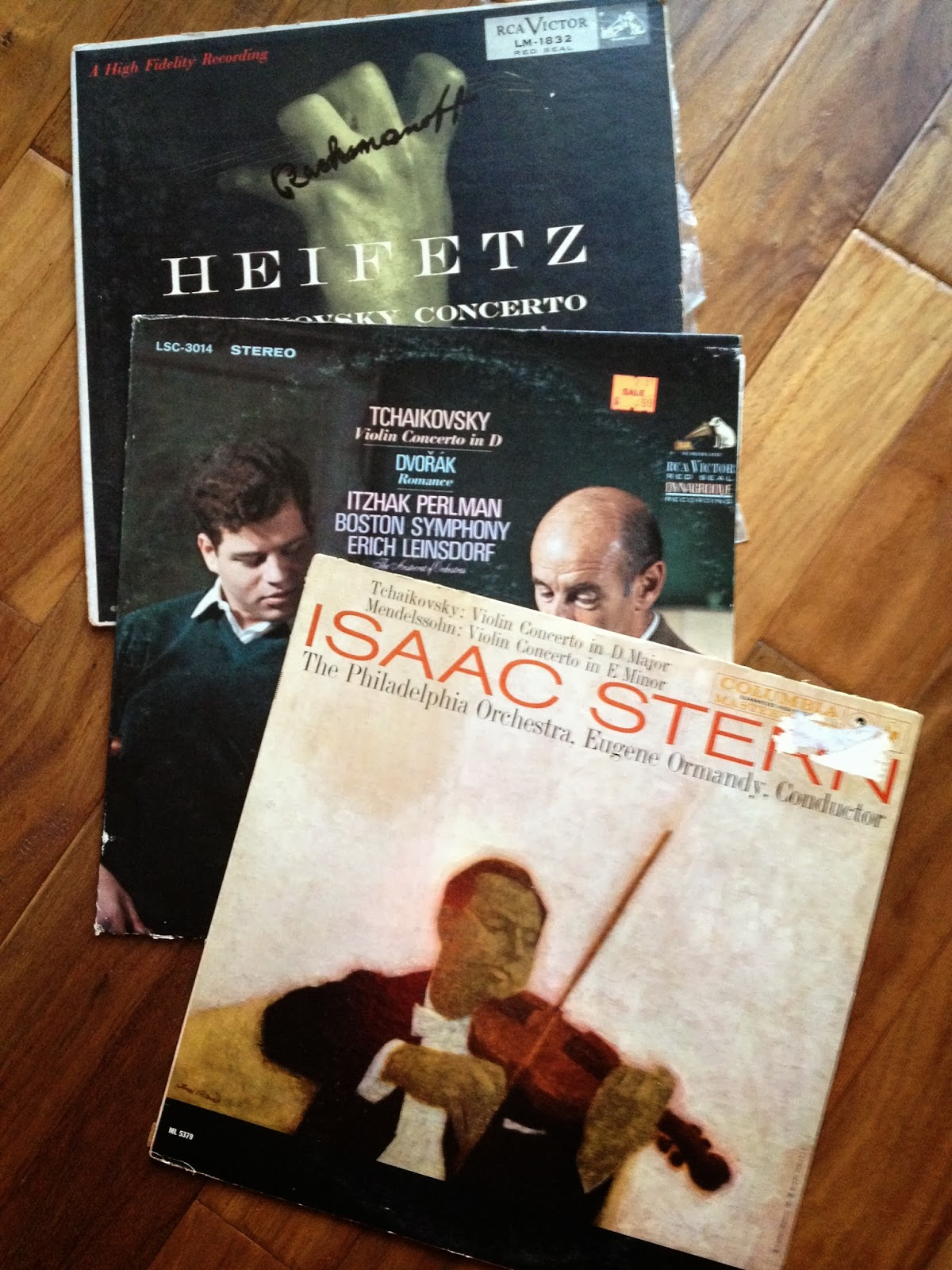 LPs of Tchaikovsky Concerto in D.