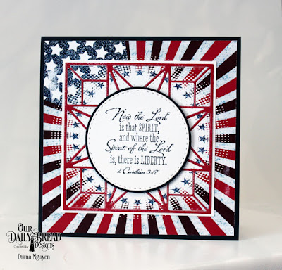 Our Daily Bread Designs Stamp Set: Justice For All, Custom Dies: Star Quilt, Double Stitched Circles, Paper Collection:  Stars and Stripes