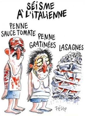 Sisma all'italiana. Penne al sugo di pomodoro, penne gratinate, lasagne - Charlie Hebdo n° 1258 - 31/8/2016