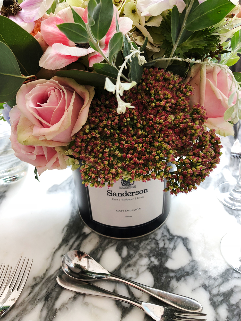 French For Pineapple Blog - Discovering Sanderson Paint - Sanderson Paint Can with Floral Display