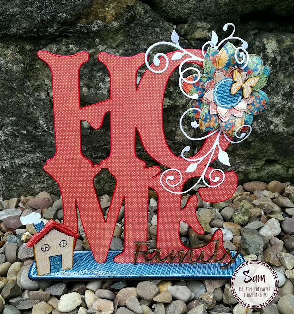 HOME plaque by Sam Lewis AKA The Crippled Crafter. Features Daisy's Jewels & Crafts and Graphic 45.