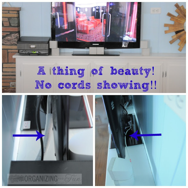 Keep cords neat and organized around your TV using these simple tricks :: OrganizingMadeFun.com