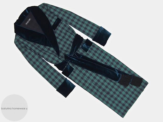 Men's dark blue tartan robe cotton velvet dressing gown