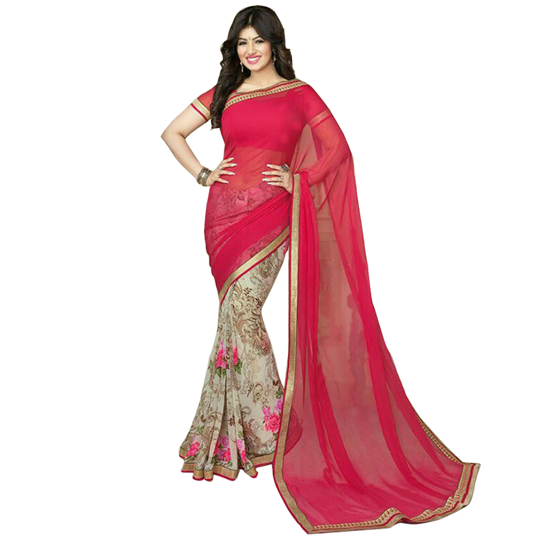 Mastani- Designer Heavy Printed Work With Lace Border Saree
