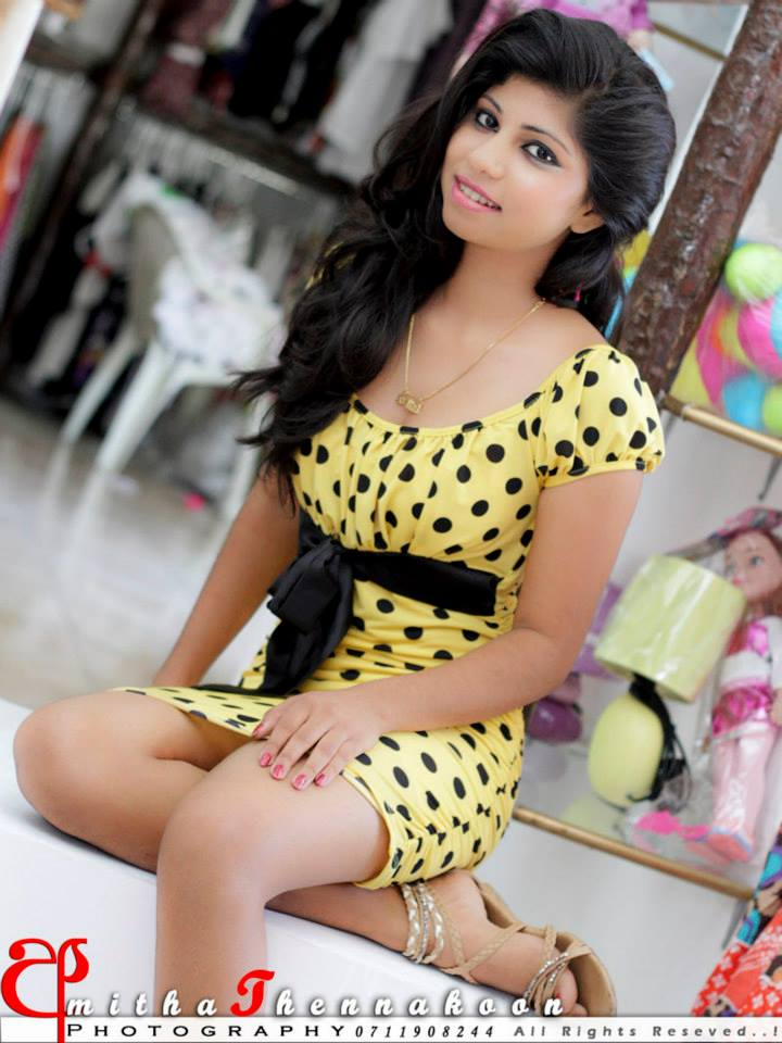 Sri Lankan Upcoming Hot And Cute Model Sajini In White Top With Tight Shorts And In Yellow Sexy Dress