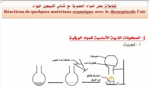 الثالثة إعدادي درس تفاعلات بعض المواد العضوية مع ثنائي أكسيجين الهواء réaction de quelques matériaux organiques avec le dioxygène de l'air
