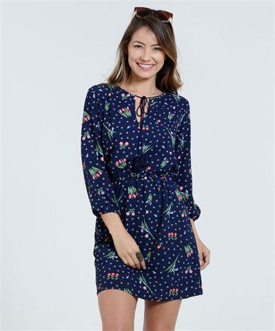 Moda Marisa Vestido Feminino Crepe Estampa Floral