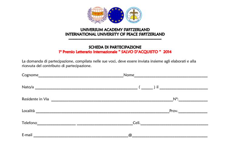 ASSOCIAZIONE CULTURALE MAGNIFICAT PREMIO LETTERARIO INTERNAZIONALE SALVO DACQUISTO PRIMA
