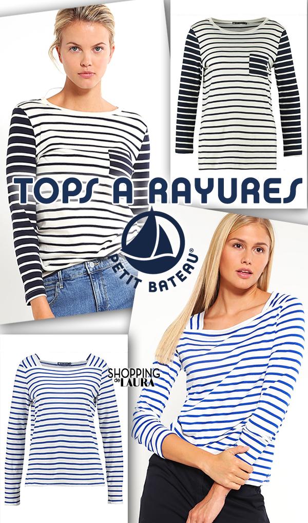 T-shirt jersey manches longues à rayures Petit Bateau