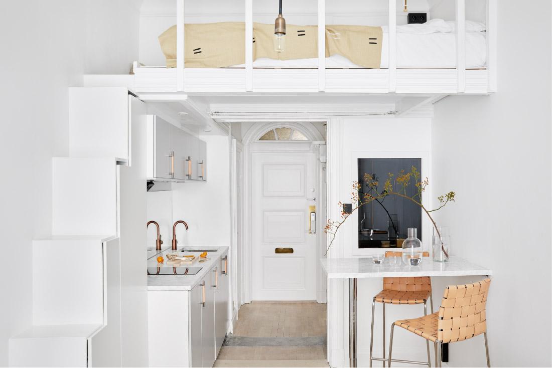 Piccoli spazi vivere in 18mq blog di arredamento e - Cucina con soppalco ...