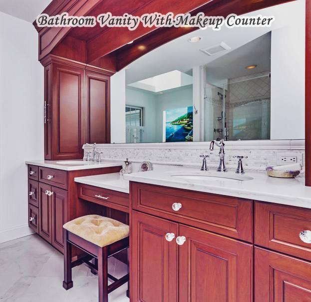 Bathroom Vanity With Makeup Counter Double Sink